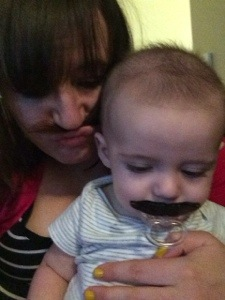 Matching mustaches.